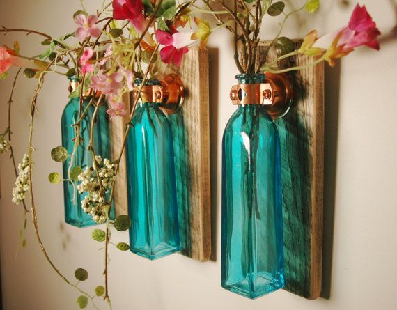 Colored Square Glass Bottle Trio each mounted on Recycled wood for unique rustic wall decor bedroom decor kitchen decor via Etsy $36: