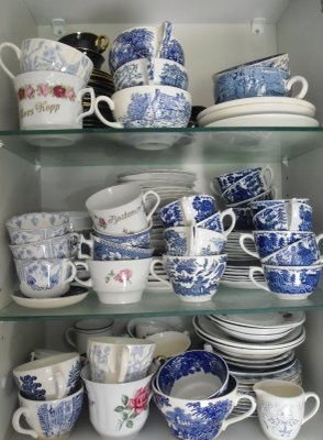 my kitchen collection of blue and white