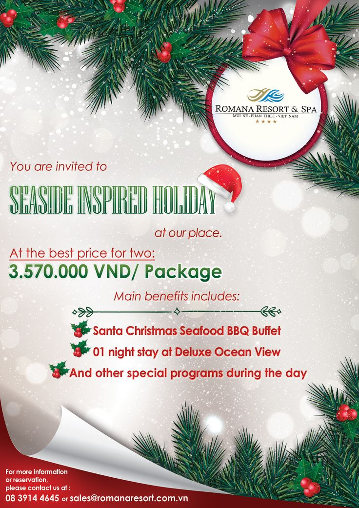 what is special on our Christmas Package? Main Benefits:  - 01 Night at Deluxe Ocean View - Santa Christmas Seafood BBQ Buffet with live music show Especially, great celebration during the day: - Complimentary Afternoon tea and coffee - Complimentary Christmas pastries - Complimentary homemade Cocktail and finger canapes At the best price at: 3.570.000 VND/ package/ 2 pax For free assistance, please call us at: 08 3914 4645