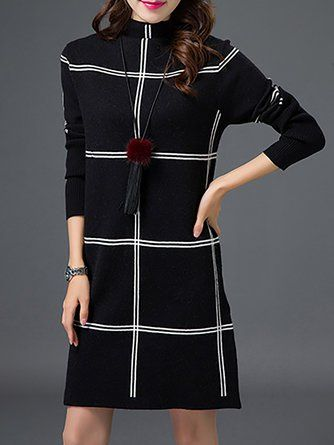 098ec309a6 Turtleneck Checkered Plaid Casual Sweater Dress Club Party Dresses