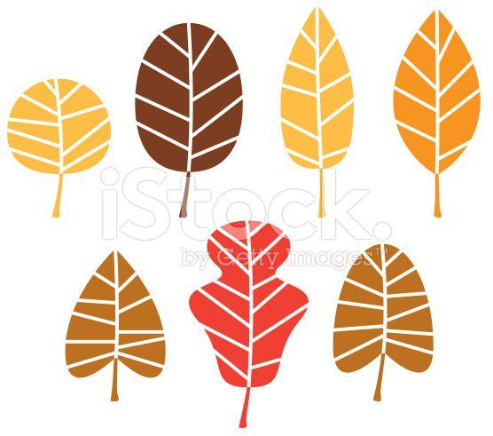 Conjunto de hojas de otoño colorido árbol aislado sobre blanco vector de stock…