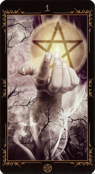 Ace of Pentacles - The Dark Fairytale Tarot Governed by the fruitful element of the Earth