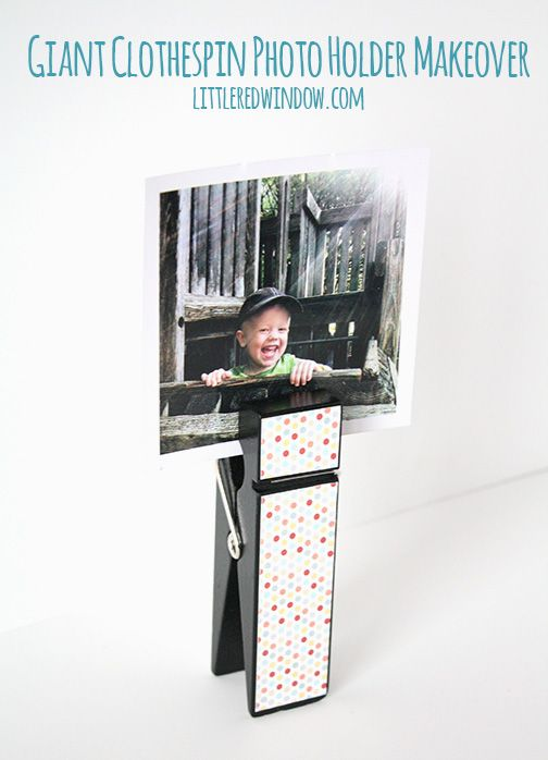 Giant Clothespin Picture Holder  | littleredwindow.com | Make a simple and fun Giant Clothespin into an adorable picture holder!