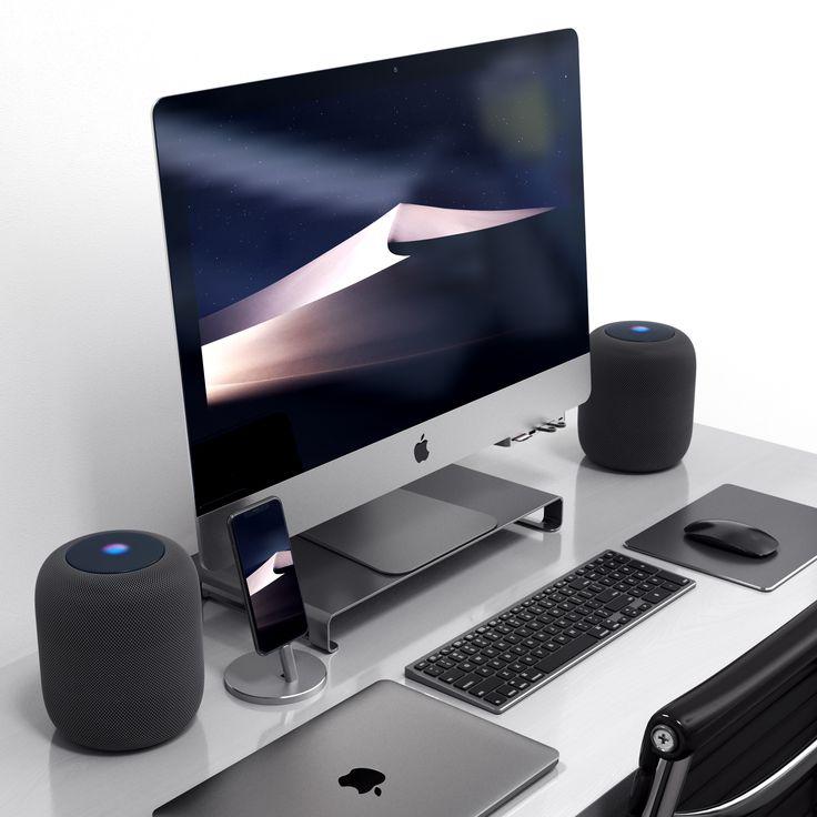 aluminum slim wireless keyboard desk set ups in 2019 computer desk setup imac desk home. Black Bedroom Furniture Sets. Home Design Ideas