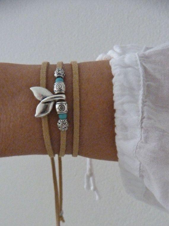 mermaid bracelet , beachcomber natural faux suede bracelet , beach bohemian wrap bracelet
