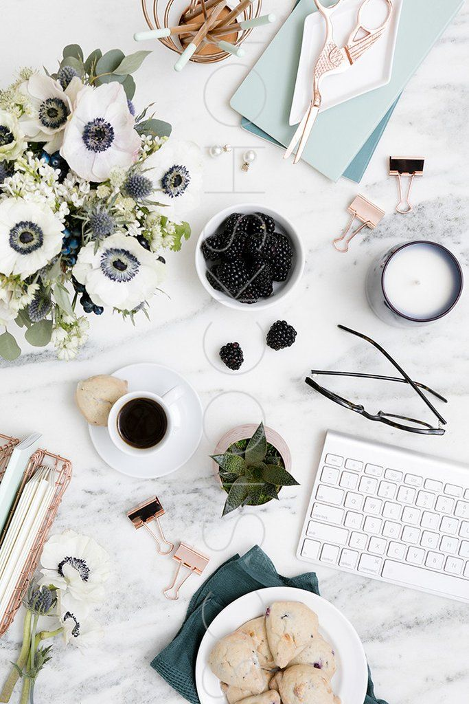 Elevate your brand with styled stock photography for creative business owners. Take 40% off during the July 4th weekend sale. Blue on Marble Desk Collection #07