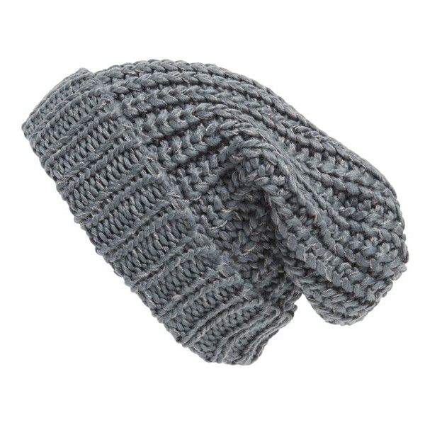 Phase 3 Chunky Rib Knit Beanie ($24) ❤ liked on Polyvore featuring accessories, hats, grey castlerock, slouch beanie, slouchy beanie, gray hat, grey hat and gray beanie hat