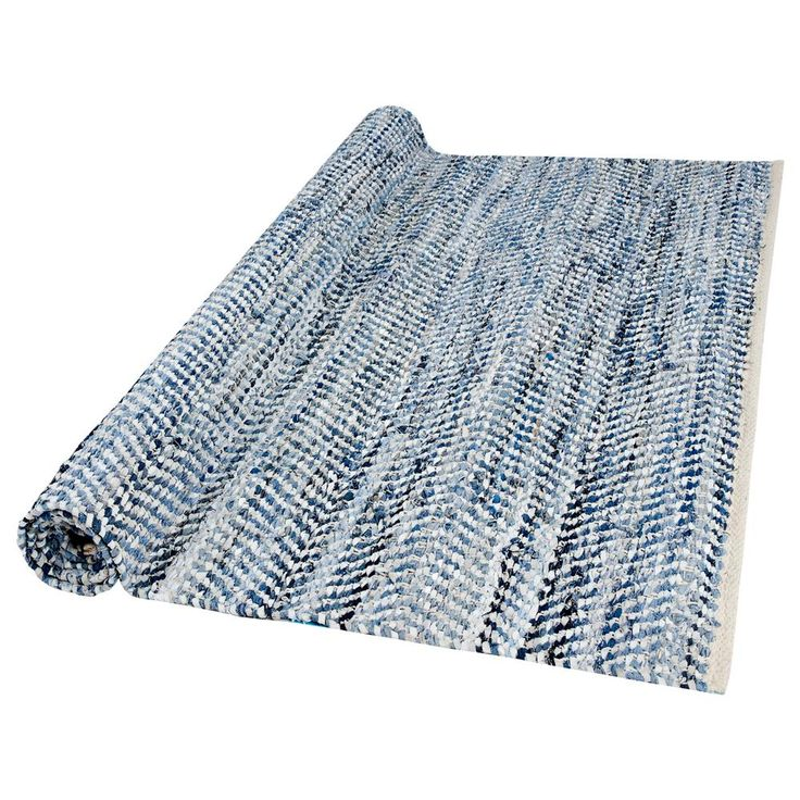 Atelier   Recycled Denim And Leather Rug