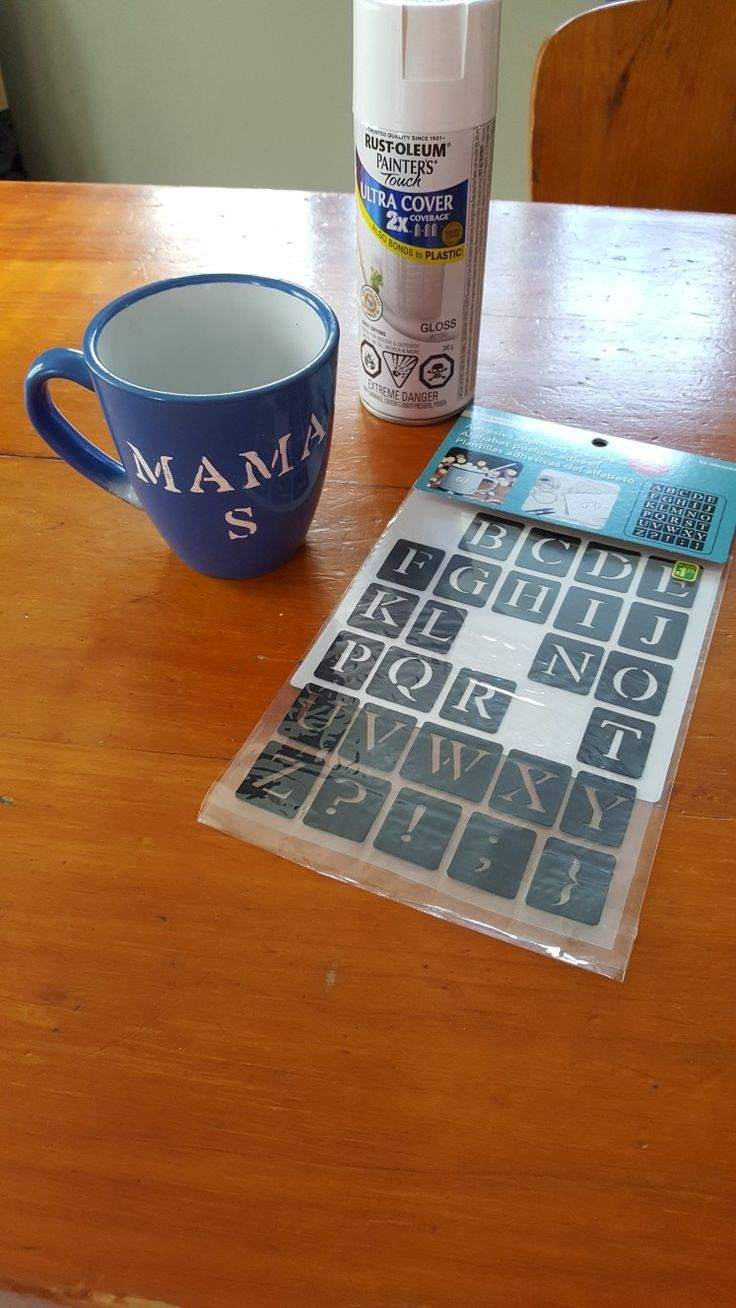DIY mug--Mama S (initial). Removable stencil and mug bought from Dollarama dollar store and spray paint from local hardware store. Use removable stencil and spell out whatever you like on mug. Spray paint whichever color you like, add 2 coats only and let dry overnight.