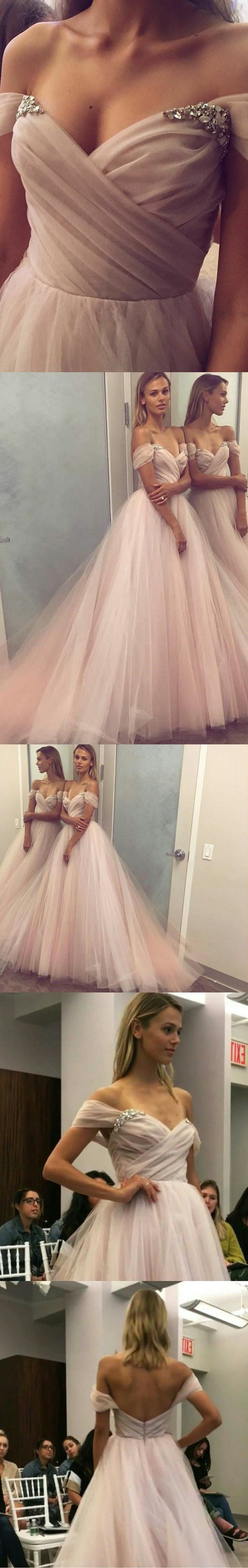 A-Line Off-the-Shoulder Court Train Pearl Pink Tulle Prom Dress with Beading M0745 Maybe this is a prom dress but Id don this at an awards ceremony.