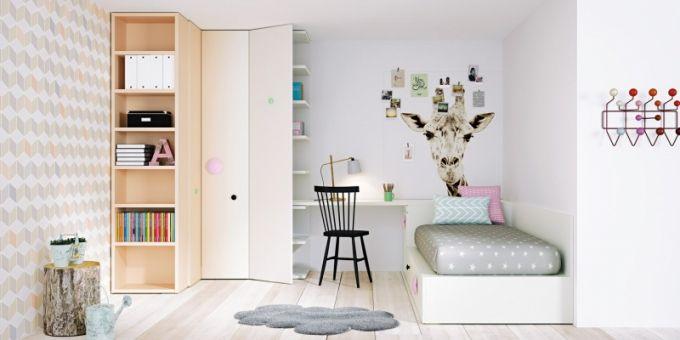 Sestava Cordoba nabízí rohovou skříň s chytře řešenou knihovnou, postel s úložnými zásuvkami a peřiňák napojený na psací stůl, Lagrama, cena 113 070 Kč, www.space4kids.cz