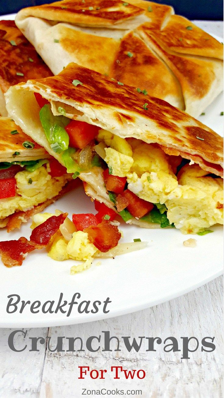 Breakfast Crunchwraps for Two - Breakfast Crunchwraps are an easy and delicious alternative to breakfast burritos which don't have this amazing crispy fried golden brown tortilla shell. These are perfect for breakfast, lunch or dinner for two. The filling options are endless and you can add any of the breakfast ingredients you love the most. Makes 3 crunchwraps.