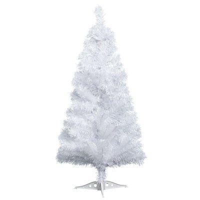 Sapin artificiel blanc de 90 cm de hauteur, 93 branches, ø 46 cm, plastique.