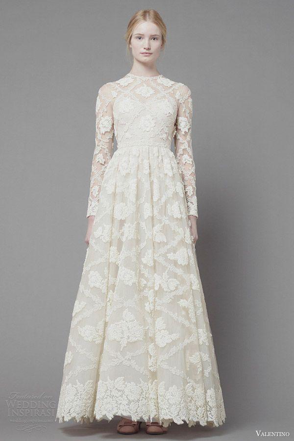 valentino fall 2013 2014 long sleeve white lace dress