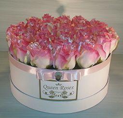QM160/ Queen Roses rózsaszín selyemrózsa rózsadoboz közepes