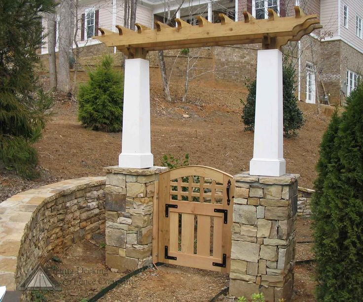 Garden Gate Arbors Designs stunning metal and wood fence and gate Arbor Designs With Lattice Details Features Angled Stone Pillars And Arbor At