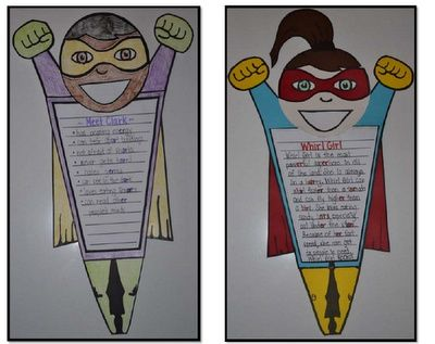 Superhero Writing Craftivity. Have students write about their superhero powers. Pieces are separate - legs, cape, arms, hands, body, and head. Could also separate mask. Thinking about adding a ponytail piece.