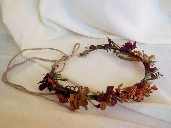 Fall Hair garland rennaisance headdress bridal Wedding Accessories flower crown woodland rustic hair wreath Autumn halo Halloween costume