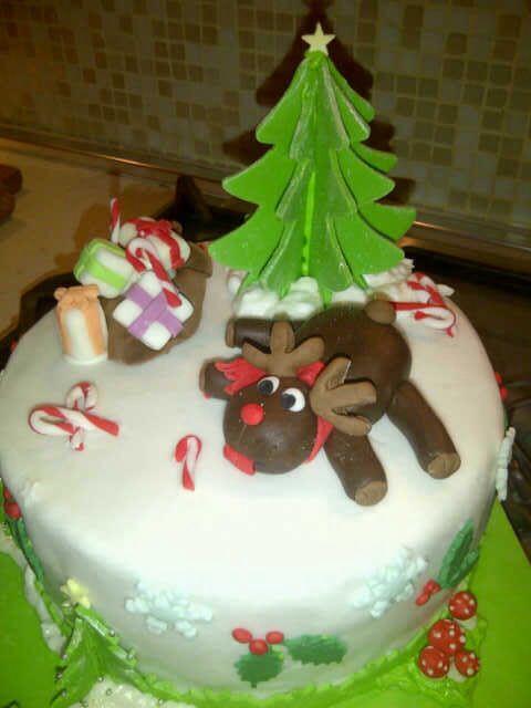Christmas cake sugar paste - torta natalizia renna regali e albero di natale con pasta di zucchero
