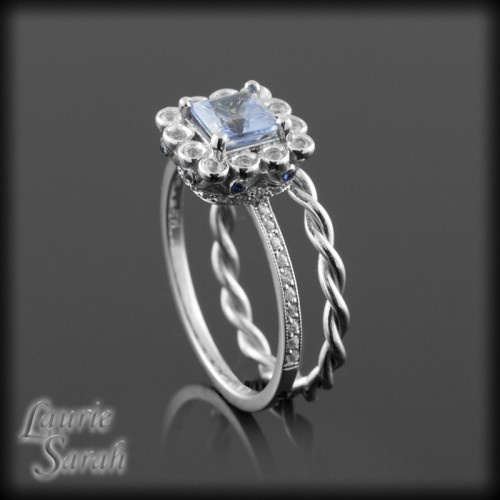 Ceylon Blue Sapphire Wedding Set with Diamond, Blue Sapphires and 14kt White Gold Twisted Wedding Band - LS2694