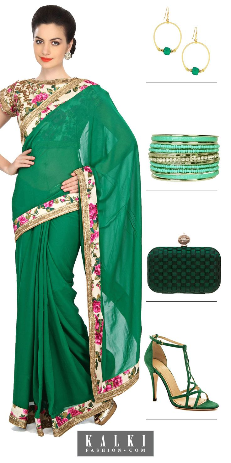 The floral blouse can amplify the look of the saree, accentuating a simple saree into a glam-outfit. The gold border and floral border on the blouse and the saree brings in the harmony between the duos. You can wear it at a re-union or dinner party and accessorize your saree with bright emerald green earrings. Add a glittery pair of shoes for an amazing contrast.