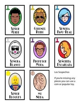 TOTALLY COOL printable Spanish replacement cards for the board game clue. My students LOVE this game! It has all of the rooms, weapons, and characters in Spanish with original artwork. It even includes extra cards in case you have to improvise pieces! (Mo Neda character card for using a coin as a piece, Serpiente for using a rubber band as a weapon token)
