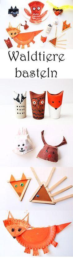 Basteln im Herbst: Waldtiere mit Kindern basteln aus Upcycling-Materialien - aus Klorollen, aus Eierkarton, aus Eisstielen und aus Papptellern