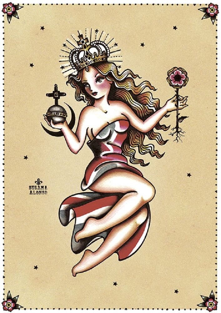 Behold by Susana Alonso Queen Pin Up Girl Tattoo Canvas Fine Art Print