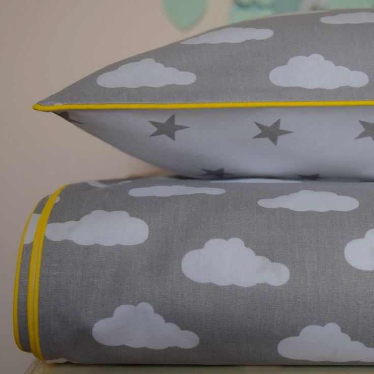 100% COTTON Children Single BEDDING Set Boys Girls Grey  Clouds Stars yellow