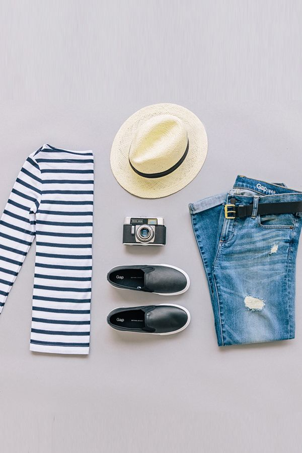 Stripes + denim = our go-to travel uniform. Shop all new arrivals from Gap.