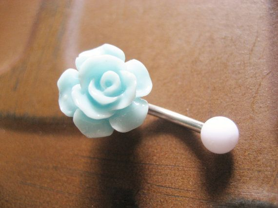 Mint Green Turquoise Rose Belly Button Ring- Pastel Minty Light Seafoam Flower Navel Stud Jewelry Bar Barbell Piercing. $15.00, via Etsy.