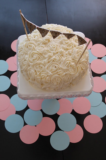 cute gender reveal cake - just like the top layer of our wedding cake!