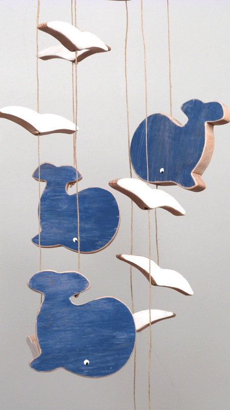Wooden baby mobile nursery baby mobile whales by AtelierSaintCerf