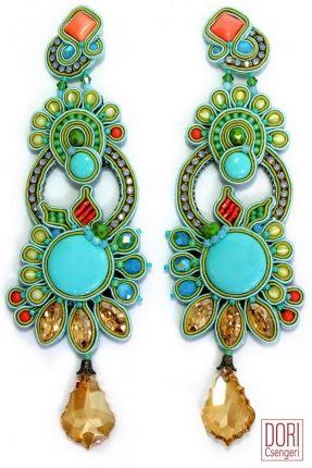 Celeste high fashion floral clip on earrings by Dori Csengeri  #DoriCsengeri #statementearrings #ss2016 #floraltrend #floralearrings #shoulderdusters #earrings