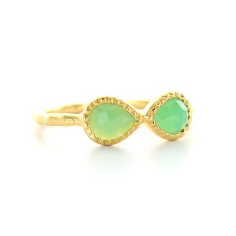 MINI HARMONY BOW RING - CHRYSOPRASE & GOLD | Buy So Pretty Jewelry Online & In Stores
