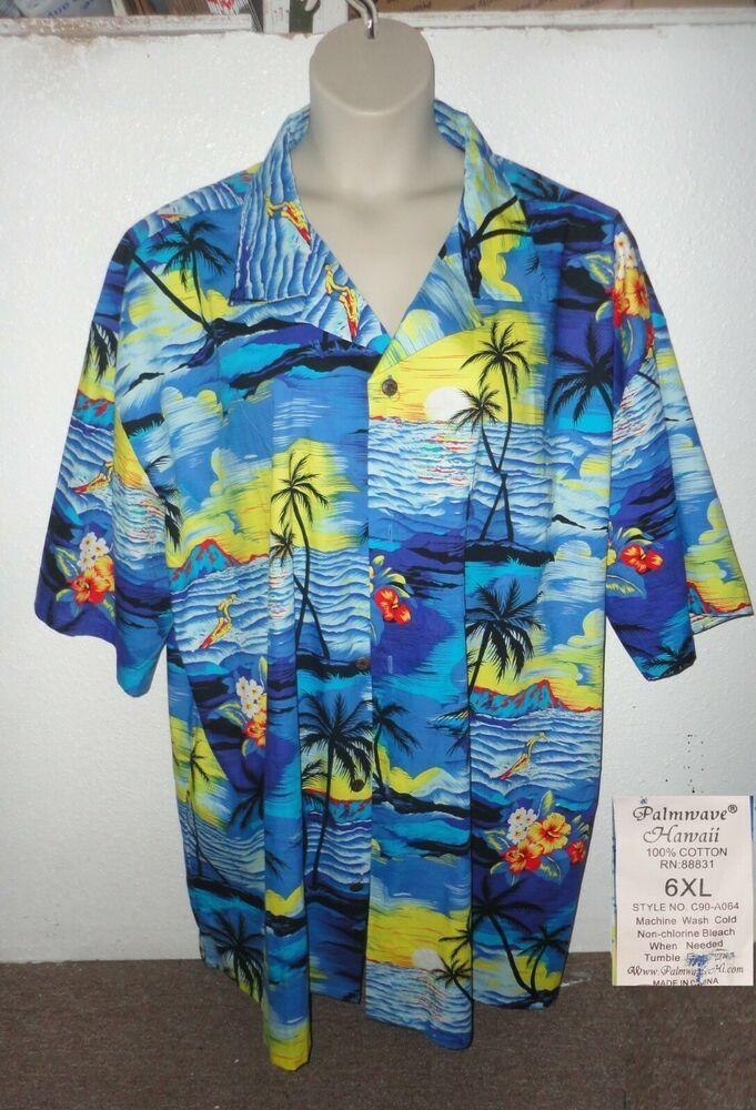 caf6ffc2 6X Hawaiian Shirt Aloha tiki surfer Floral Diamond Head PalmWave Hawaii # palmwave #hawaiian