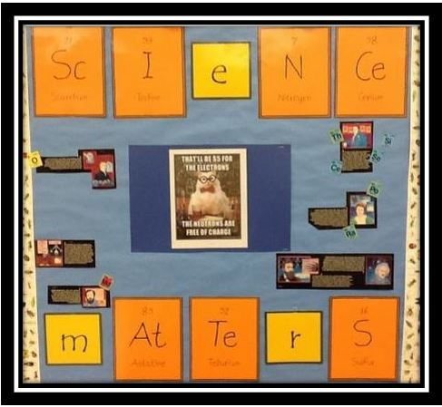 My husband (an 8th grade science teacher) isn't one to do bulletin boards, never has been and never will be. My daughter (also a teacher) and I usually make them for him. I just constructed a new one using periodic table tiles I got for free on Teachers Pay Teachers. Check it out at:  http://gofigurewithscipi.blogspot.com/2015/09/using-periodic-table-to-create-bulletin.html