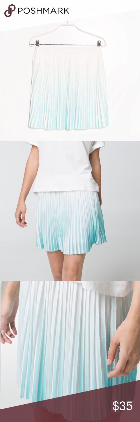 Ombré Mango Pleated Skirt S Never worn ombré mango skirt, light blue teal color. Can be worn high wasted or Lower as in the photos. Sold out on mango!!! Mango Skirts
