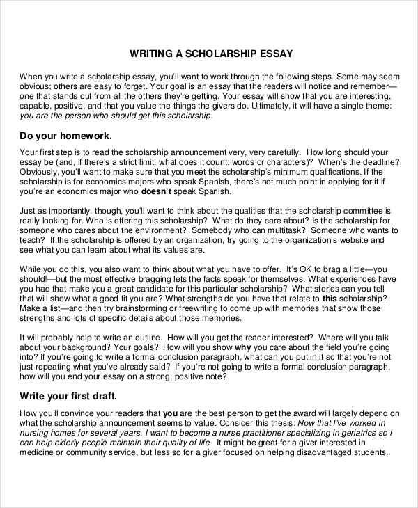 Writing Essay For Scholarship Example Examples How To Start A About Yourself Write Good College