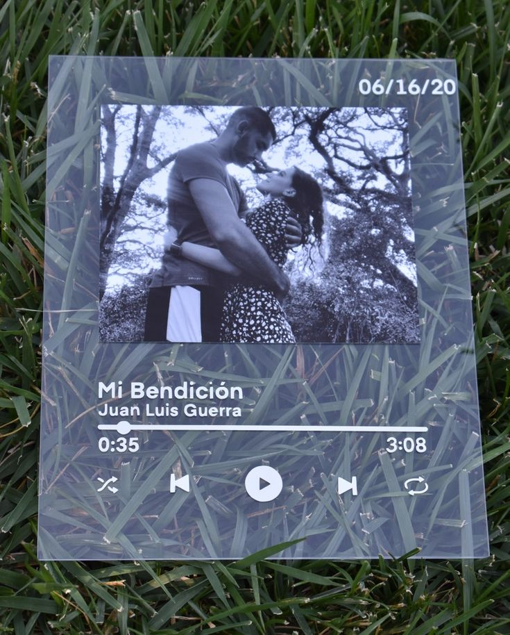 Custom spotify song plexiglass frame with a personal photo