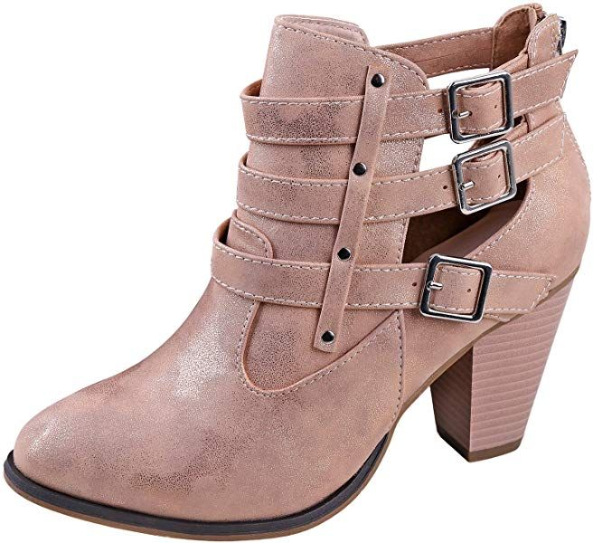3248692db6836 Amazon.com | Forever Women's Camila-62 Buckle Strap Block Heel Ankle ...