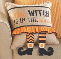 Mud Pie Burlap Throw Pillow and Halloween Witch...