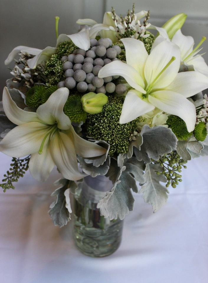 gray and green wedding flowers bouquet   http://sophisticatedfloral.com/Green Bouquet