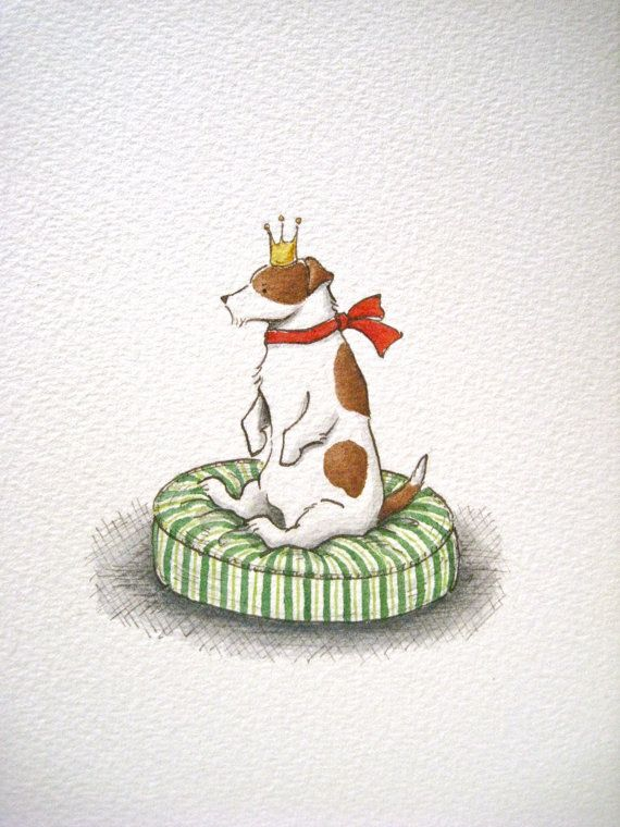 ORIGINAL ILLUSTRATION / PAINTING  - Jack Russell terrier dog / pen & ink, watercolour on Etsy, $40.08