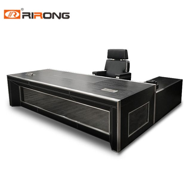 Source Customized Black Leather Covered Wooden Office Desk High