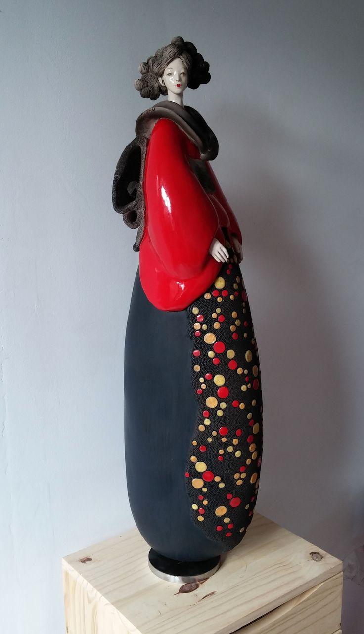 Pauline Wateau, Sculpture Céramique Raku Fille du Soleil Levant 2014