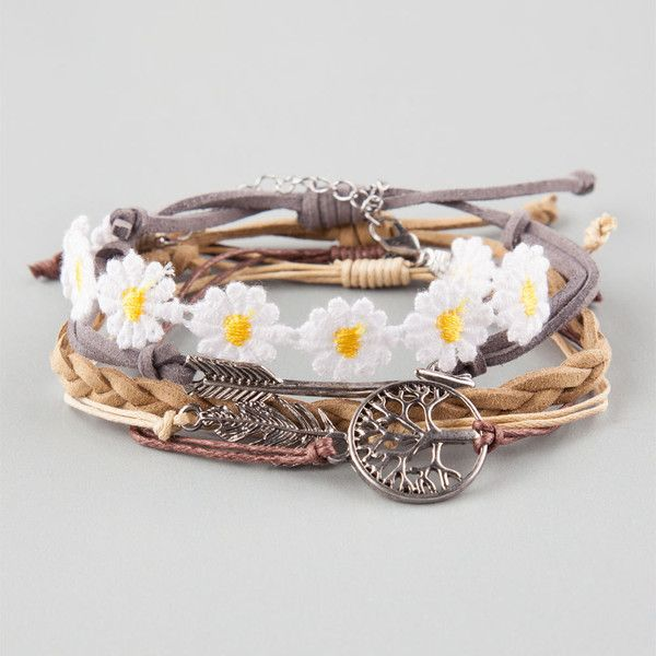 Full Tilt 5 Piece Arrow/Daisy/Feather/Tree Bracelets ($8.99) ❤ liked on Polyvore featuring jewelry, bracelets, accessories, multi, braided rope bracelet, feather bracelet, bracelet bangle, braided chain bracelet and cord bracelet