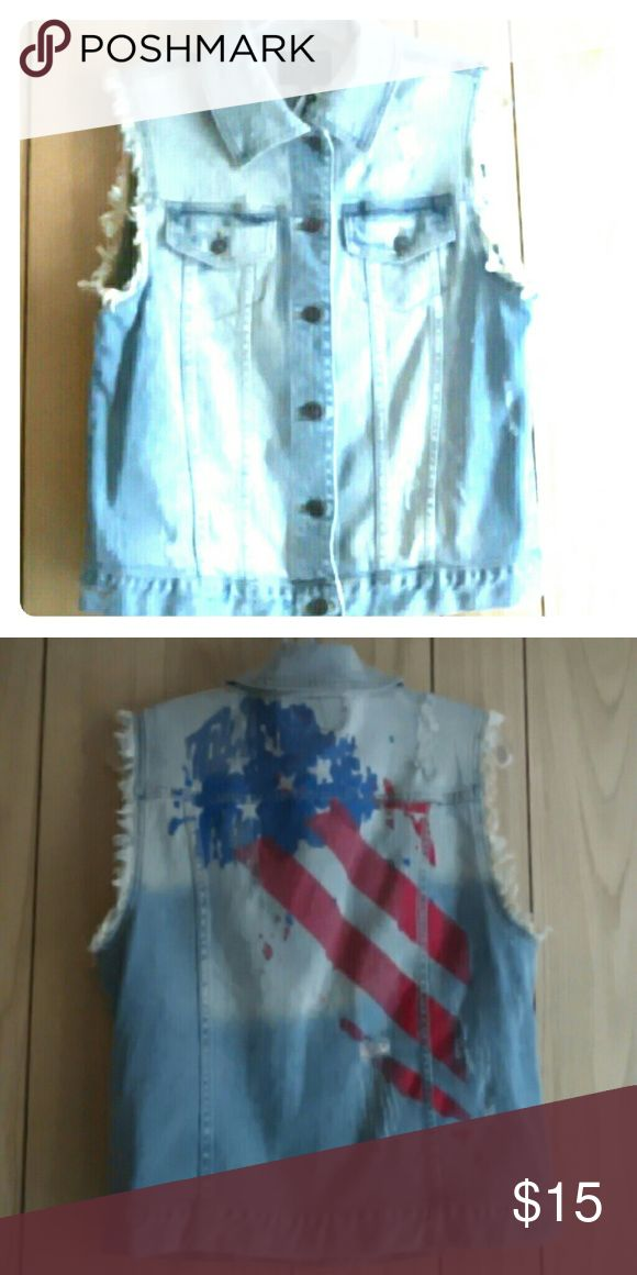Trendy American Flag Vest Sleeveless Light weight blue Jean vest with American flag painting on the back.. Jackets & Coats Vests