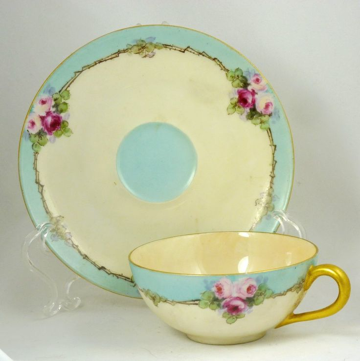 Antique Limoges Delicate Signed Tea Cup and Saucer by Ariamel