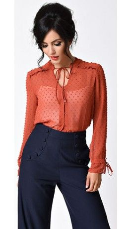 1960s Style Rust Orange Sheer Long Sleeve Dotted Blouse